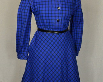 Royal blue plaid 70s midi dress size S/M