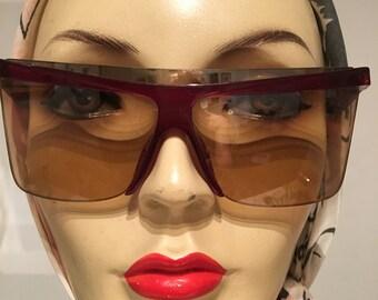 1980s Monsieur Dior Burgundy Sunglasses
