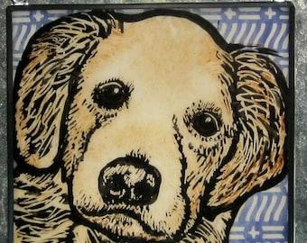 Stained Glass Dog Suncatcher Golden Retriever JRN72