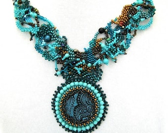 Statement jewelry Teal necklace Gift for women Beaded necklace, Freeform peyote necklace, Birthday gift