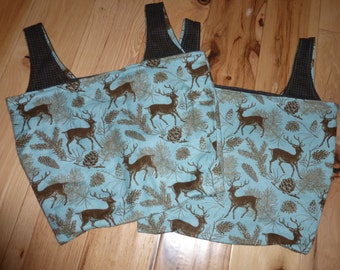 Reversible Grocery Bag Market Tote Medium Deer Flannel Blue Brown Rustic Nature Woodland Manly