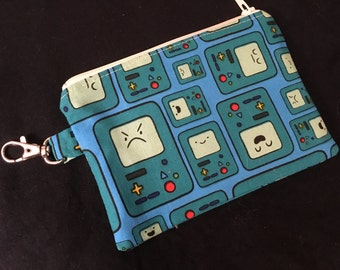 Adventure Time Beemo Zippered Pouch with Swivel Clasp - stocking stuffer, coin purse, wallet, notions case