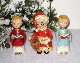 3 Paper Mache Christmas Figurines, Choir Boys, Carolers, Mrs. Claus / Japan, Vintage Christmas Decor