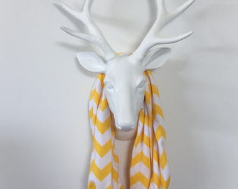 Infinity Scarf - Buttercup Yellow & White Chevron - Cotton Jersey Knit - BEST SELLER