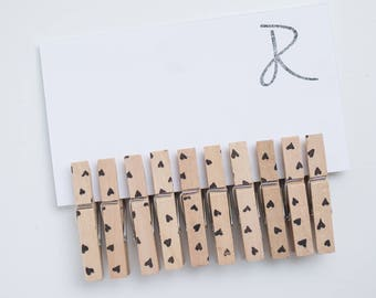 Heart Clothespins - Set of 10 Scattered Hearts Handstamped Clothes Pins - Regular or Mini sizes and 17 color options
