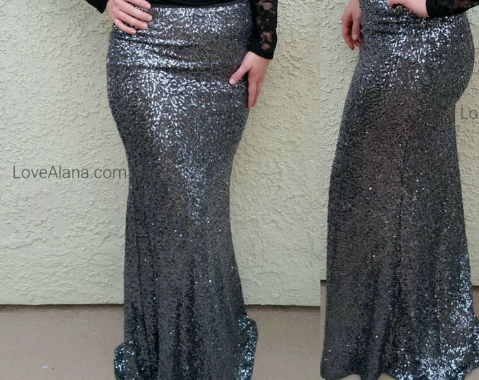 Gunmetal Maxi -Gorgeous high quality sequins- Long sequined skirt  (Small and Medium)