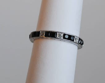 art deco diamond and square cut black onyx platinum band - Onyx Wedding Ring