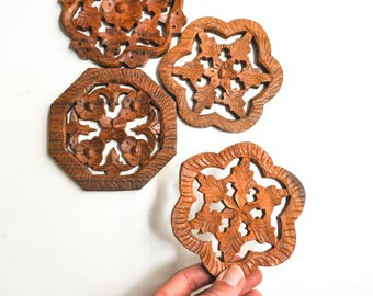 Collection of Petite Vintage Wooden Flower Trivets