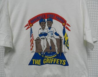 vintage Ken Griffey Jr T Shirt NOS The Griffeys Baseball's First Family Seattle Mariners 90s 1990 Sr RARE tee deadstock USA made Trench