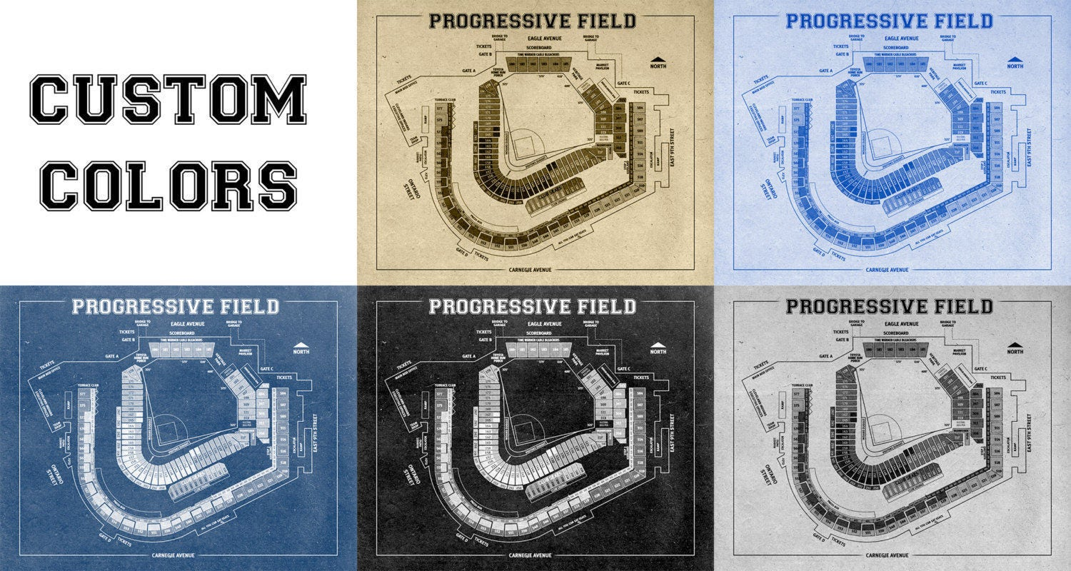 Print of vintage progressive field seating chart seating for 12x15 calculator
