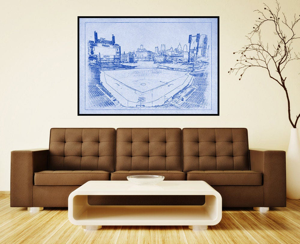 Print of vintage tigers stadium line drawing on photo for 12x15 calculator
