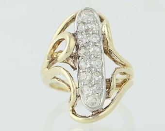 Vintage Diamond Bypass Ring - 14k Yellow & White Gold Mine Cut .52ctw N3897