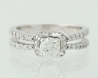 Diamond Engagement Ring - 18k White Gold Halo Round Cut 1.03ctw Unique Engagement Ring N4704