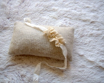 NEW-Newborn Posing Pillow-Off White Newborn Headband and Posing Pillow-Baby Halo-Newborn Baby Tieback-Fabric Pillow-Newborn Photography Prop