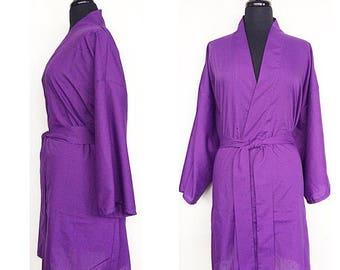 Cotton Blend Kimono Robe In Purple