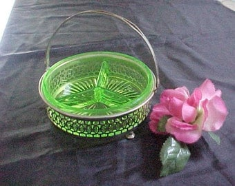 Vintage Farberware Pierced Candy Basket w/ Swing Handle & 3 Part Uranium Glass Insert, 1930s Green Depression Glass Divided Serving Bowl