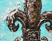 Fleur de Splash Teal - matted to fit 16x20 Frame - PRINT