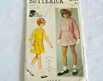 Butterick 4463 Sewing Pattern Girl's Jacket & Sleeveless Jacket Blouse Skirt Bill Atkinson Size 5 1960's