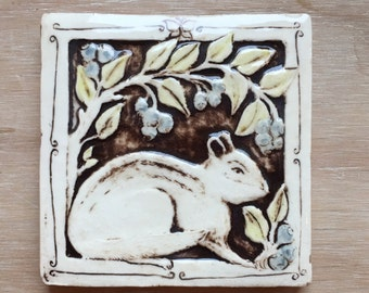 Chipmunk with blueberries handmade slipcast porcelain tile 4 inch with gloss finish