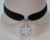SNOWFLAKE BLACK Velvet Chained Choker, White Snowflake Charm With Rolo Chain, 30 Ribbon Colours, Handmade :)