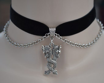 DOUBLE WATER DRAGON Charm With Chain Black Velvet Ribbon Choker Necklace -sd... or choose another colour velvet, handmade to size :)