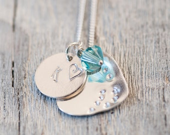Personalized Hand Stamped Charm Necklace Initial Necklace Gift for Wife Girlfriend Gift Best Friend Gift Handstamped Jewelry Swarovski Charm