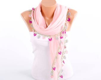 Turkish oya scarf , turkish yemeni , summer scarf with hand crocheted lace circles and tassel ,blush pink