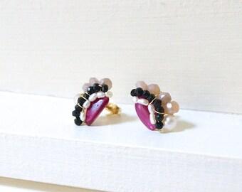 Ruby stud earrings - cluster gemstone studs - wire wrapped cluster stud earrings - 14k gold filled