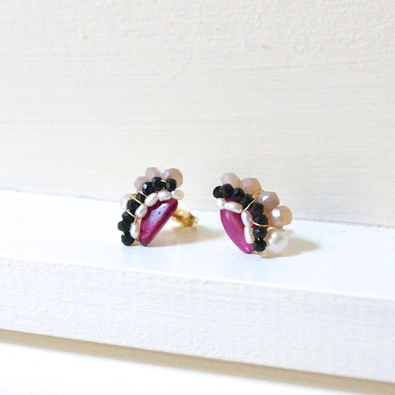 Ruby stud earrings - cluster gemstone studs - wire wrapped cluster stud earrings - 14k gold filled