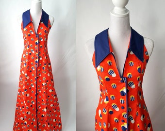 Vintage 1960s Red and Blue Halter Maxi Dress, Sleeveless, Lounge Dress