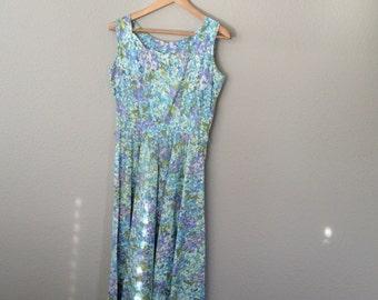Vintage 40s Sundress, 1940 Cotton Blue Flower Print Sleeveless Dress