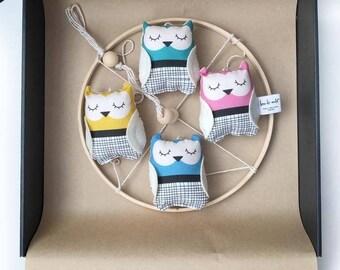 Bright coloured Unisex Nursery Mobile - Owl Nursery Mobile - Hanging owl mobile - One of a Kind - Nursery decor - Owl theme nursery - Owls
