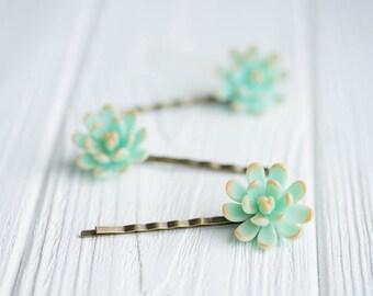1 pcs Mint Succulent Hair Pins Hairpin Polymer Clay Bobby Pins Hair Decoration Accessory Women Handmade Decoration Wedding Bridal Hair