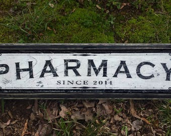 Pharmacy Wood Sign Antique Style - Handmade Wooden Decor