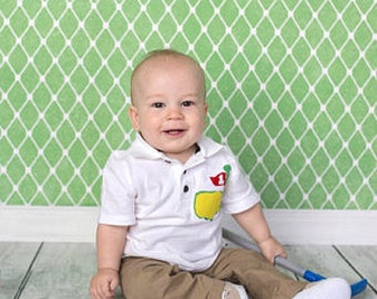 Front and back -Boy, toddler white  polo golf SHIRT Masters with red flag personalized birthday number and name on back in green applique
