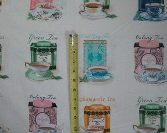Tea Cups Variety Teas Drinks Cotton Fabric Panel