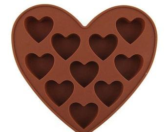 Silicone Soap Mold: Heart Mold, Heart Soap, Chocolate Heart, 10 Cavity Mold, Heart Soap Mold, Small Heart, Valentines Mold, Wedding Mold