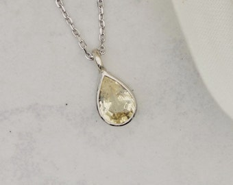 Pear Shape Yellow Sapphire Gold Layering Necklace, September Birthstone Keepsake Gift for Her