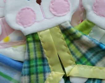 READY TO SHIP Blue and Green Plaid Bunny Puppet Lovey Security Blanket with yellow satin trim