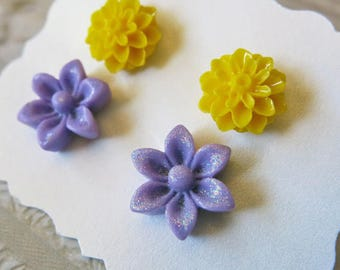 Flower Earring Studs Yellow Flower Earrings Studs Purple Studs Mother's Gift Floral Bridal Jewelry Bridesmaid Gift Weddings