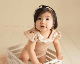 Sequin Baby Girl Onesie Leotard Formal Bodysuit Romper Rose Gold