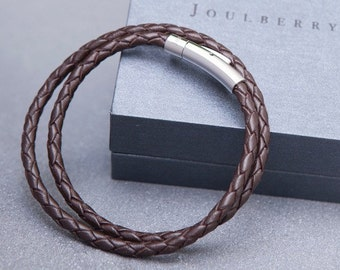 Brown Slim Braided Double Leather Wrap Bracelet