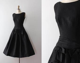 vintage 1950s dress // 50s black party dress