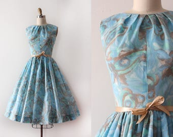 vintage 1950s dress // 50s blue day dress