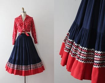 vintage 1950s patio skirt // 50s navy blue and coral skirt