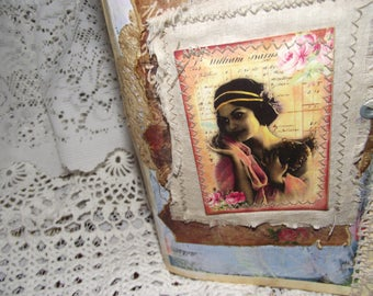 """Shabby Junk Journal %5 1/2"""" X 8 1/2""""   Coffee Stained Pages  Embelleish   And Sewed Cards And Pockets  38 Pages  Including Covers"""