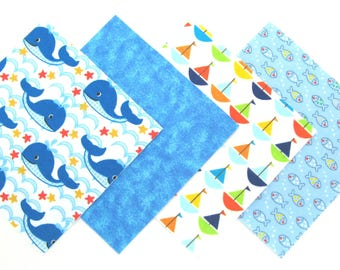 """48 Cotton Flannel Rag Quilt Kit 6""""x6"""" Quilt Squares in Whales, Deep Blue Sea, Sailboats and Tiny Fish Matching Prints"""