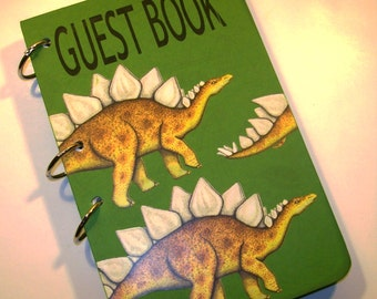 Guest Book Birthday, Green Dinosaur Guest Book, Dinosaur First Birthday, Party Sign in Book, Dinosaur Party Decor, Dinosaur Guestbook