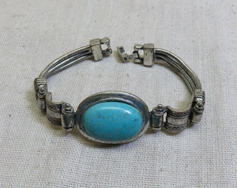 Vintage Turquoise Bracelet,  8 Inches
