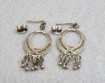 Vintage Ethnic Petite Hoop Sterling SIlver Pierced Earrings, Wirework Earrings